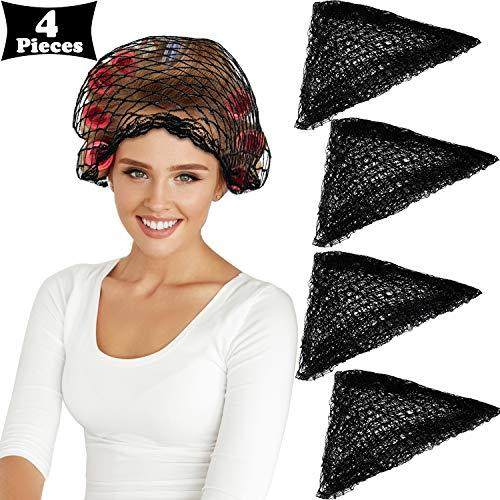 4 Stücke Baumwolle Dreieck Haarnetz für Rollen, Frauen Haarnetz Mesh Haarnetz Dreieckiges Haarnetz zum Schlafen, Schwarz, 35 x 35 x 57 Zoll