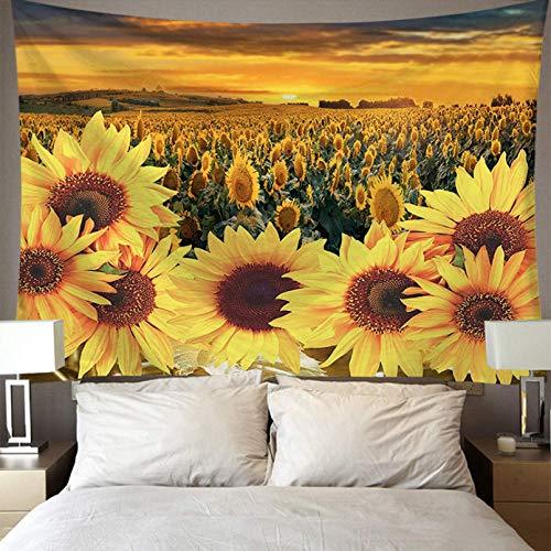 N/A Impresión 3D de tapices Colgante de Pared Girasol Estampado Floral Casa de Campo Dormitorio Decoración de la habitación Alfombra de Pared Rectángulo Macrame Tapices de Tela de Pared