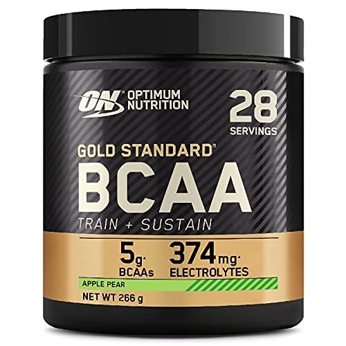 Optimum Nutrition Gold Standard BCAA, Aminoacidi Ramificati in Polvere, Vitamina C con Magnesio, Zinco, Elettroliti, Mela e Pera, 28 Porzioni, 266g, il Packaging Potrebbe Variare