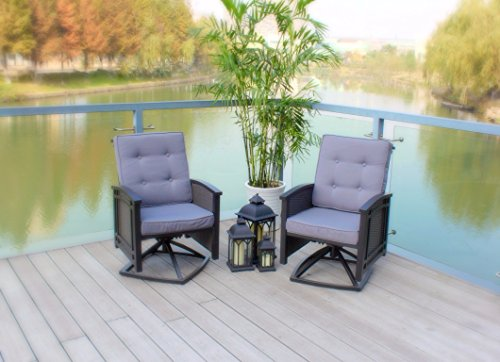 Pebble Lane Living Set of 2 Swivel Aluminum Wicker Rocking Patio Chairs with Cushions