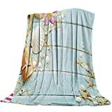 SODIKA Flannel Fleece Light Weight Luxurious Super Soft Cozy Fuzzy Throw Blanket for Couch Chair All Seasons,Beach Theme Seashells 40'x50'