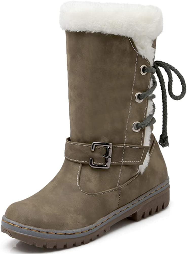 Womens Mid Calf Boots Slip On Low Heel Lace Up Buckle Warm Winter Booties