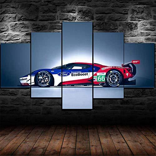 HHGJJ Cuadro En Lienzo 5 Piezas Póster For GT Race Car 5 Piezas Pintura sobre Lienzo,5 Piezas Imagen Impresión,Pintura Decoración Pared,Canvas 5 Piezas,Tejido No Tejido Moderna 5 Piezas 200X100Cm