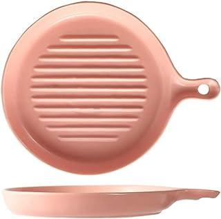 Lasagna Pan Round Ceramic Baking Pan Matte Handle Pan Rectangular Dessert Baking Baking Steak Steak Plate Salad Plate Tableware Multi Baker Dish (Color : Pink, Size : One size)