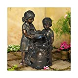John Timberland Boy and Girl Outdoor Floor Water Fountain with Light LED 23' High Sculpture for Yard Garden Patio Deck Home