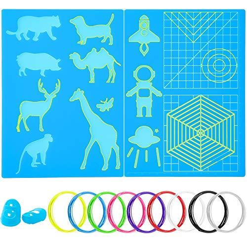 3D Pen Silicone Mat Set Includes 2 Pieces 3D Printing Pen Mats and 9 Colors 3D Printer PLA Filament with 2 Pieces Finger Protectors for 3D Beginners, Kids, Adults