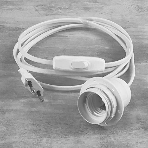 Lealoo Câble électrique Blanc avec Douille E27 et Interrupteur, Cordon Long. 2 m, pour la réalisation d'une Lampe de Chevet