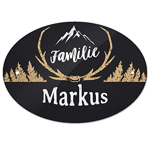 Eurofoto Türschild mit Namen Familie Markus und rustikalem Motiv mit Geweih | für den Innenbereich | Klingelschild mit Nachnamen