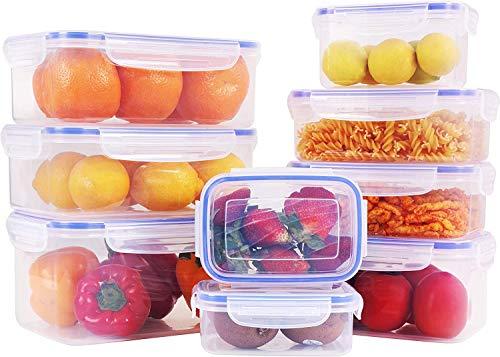 KICHLY - Set di contenitori in plastica per la conservazione degli Alimenti - 18 Pezzi (9 contenitori e 9 coperchi) - Coperchi Trasparenti - Senza BPA