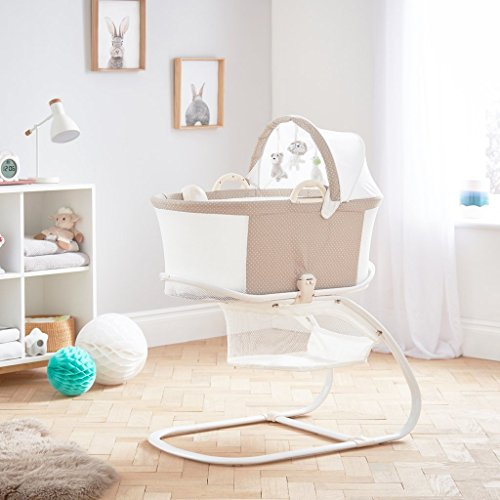 PurFlo Baby Newborn Breathable Sleeping Bassinet & Crib in Soft Truffle