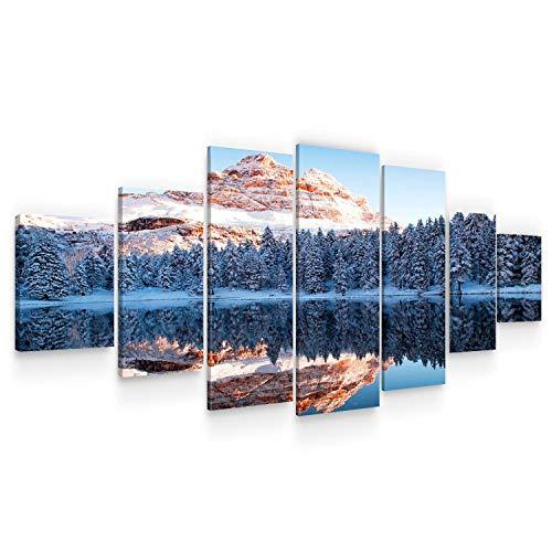 Startonight Grande Quadro su Tela Le Montagne congelate, Stampe Incorniciato e Pronta da Appendere Design Moderno Arredamento Arte Fotografia Formato XXL Multipannello di 7 Parti 100 x 240 CM