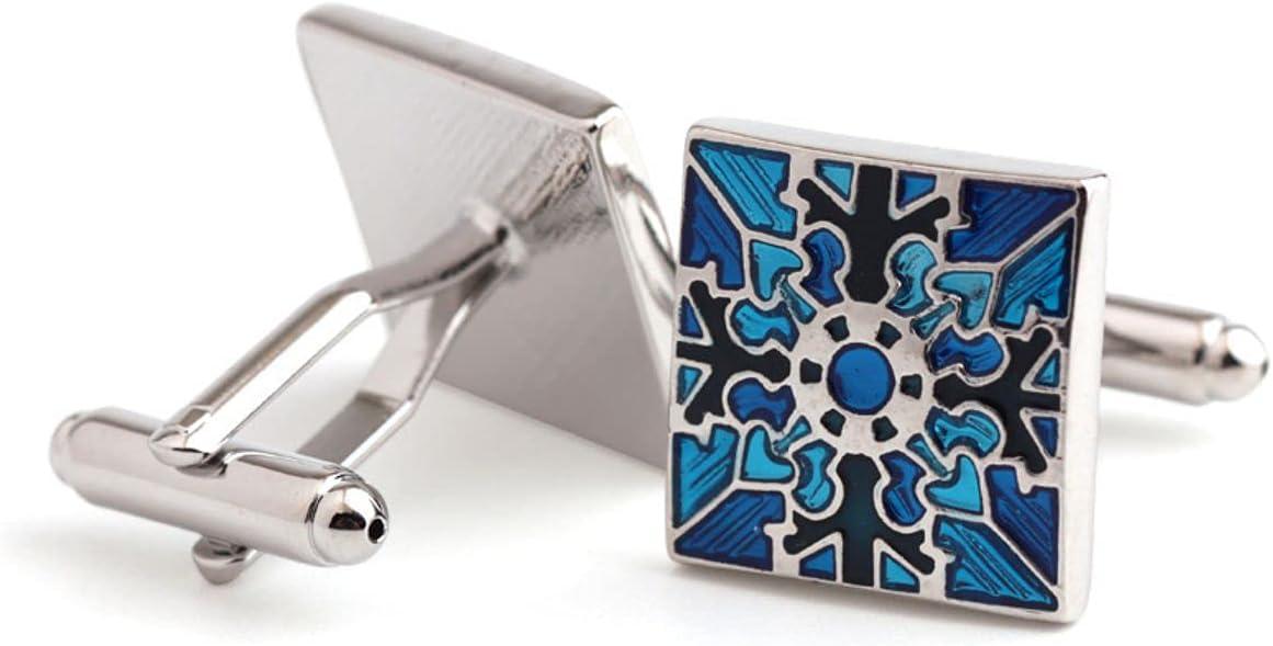 BO LAI DE Men's Cufflinks Square Blue Pattern Men's Shirt Cufflinks French Cufflinks Suitable for Business Events, Meetings, Dances, and A Gift