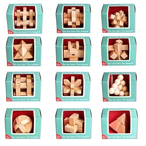 Foxom 12 Stück Holz Knobelspiele Adventskalender Holzpuzzle IQ Spiele Set Geduldspiele Denkspiel Logikspiele für Kinder und Erwachsene