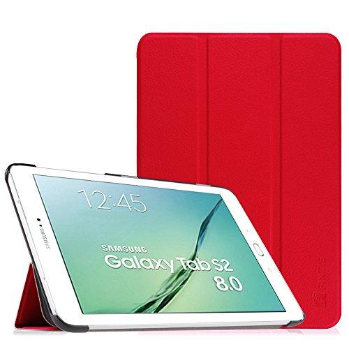 Fintie Hülle für Samsung Galaxy Tab S2 8.0 T710 / T713/ T715 / T719 (8 Zoll) Tablet-PC - Ultra Schlank Superleicht Ständer SlimShell Cover Schutzhülle mit Auto Schlaf/Wach Funktion, Rot