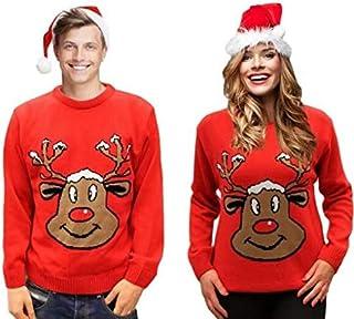 c69c810c9 Jersey Navidad Retro Novedad - Reno Rojo Sonriente - Unisex Para Hombres y  Mujeres