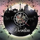 TIANYOU 12 Pulgadas Personalizada Personalizada Led Alemania Berlín Ciudad Horizonte Vinilo Registro de Pared Reloj Moderno Diseño Moderno Paisaje Urbano Arquitectura Decoración de