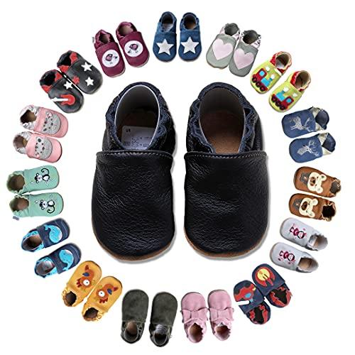 HOBEA-Germany Krabbelschuhe für Jungs und Mädchen in verschiedenen Designs, Größe Schuhe:20/21 (12-18 Mon), Uni Schuhe:schwarz