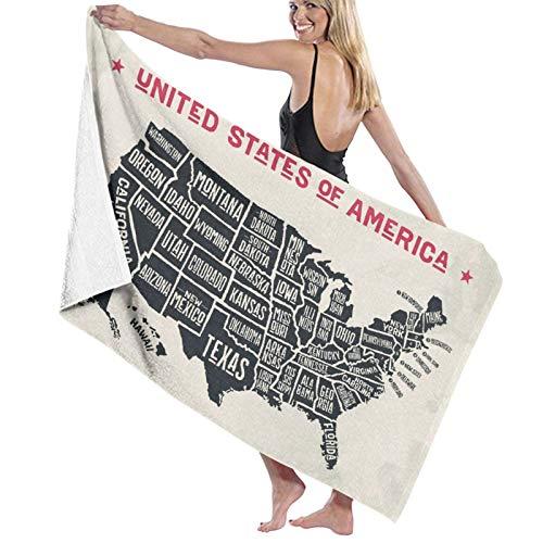 Toalla de baño de Microfibra,Mapa Americano de Estados Unidos Nombres de A,Toallas de Playa absorbentes y Ligeras para la Piscina de Viaje, natación, Acampada, Yoga, Gimnasio, Deporte, 52
