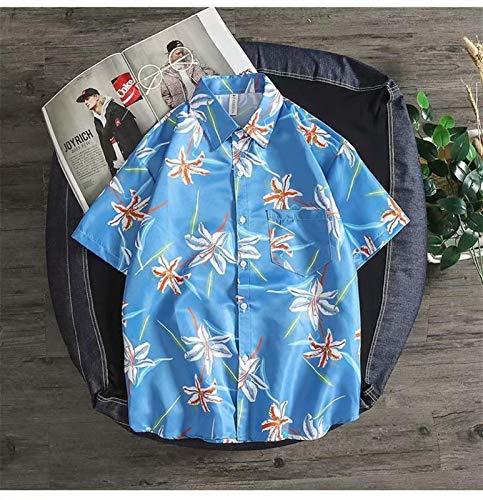 sanshi Literatura Japonesa Y El Arte Floral Fresco Letra Pequeña Camisa De Los Niños Y Niñas De Las Parejas De Manga Corta Zzzb (Color : Light Blue, Size : Large)