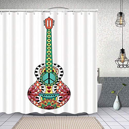 Fabric Shower Curtains hand drawn hippie acoustic guitar for anti stress colouring page waterproof Bath Curtains with Hook 62x72 inch