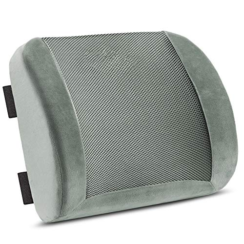 SMRONAR Lumbar Support Pillow, Memory Foam Lumbar Support Back Cushion, Lower Back Pain Relief, with Adjustable Strap and Breathable 3D Mesh Cover - Use in Car or Office Chair