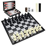 Magnetic Chess Set for Chess Checkers Backgammon 3-in-1, Game Board Interior for Storage - Travel Folding Board Game, Beginner Family Friends Chess