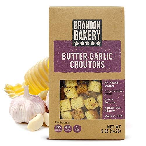 Butter And Garlic Croutons For Salad - Garlic Butter Croutons - Butter Garlic Croutons For Salads - Salad Toppings Crunchy Garlic Topping - Soup And Caesar Croutons - Brandon Bakery - 5oz - 4 Pack