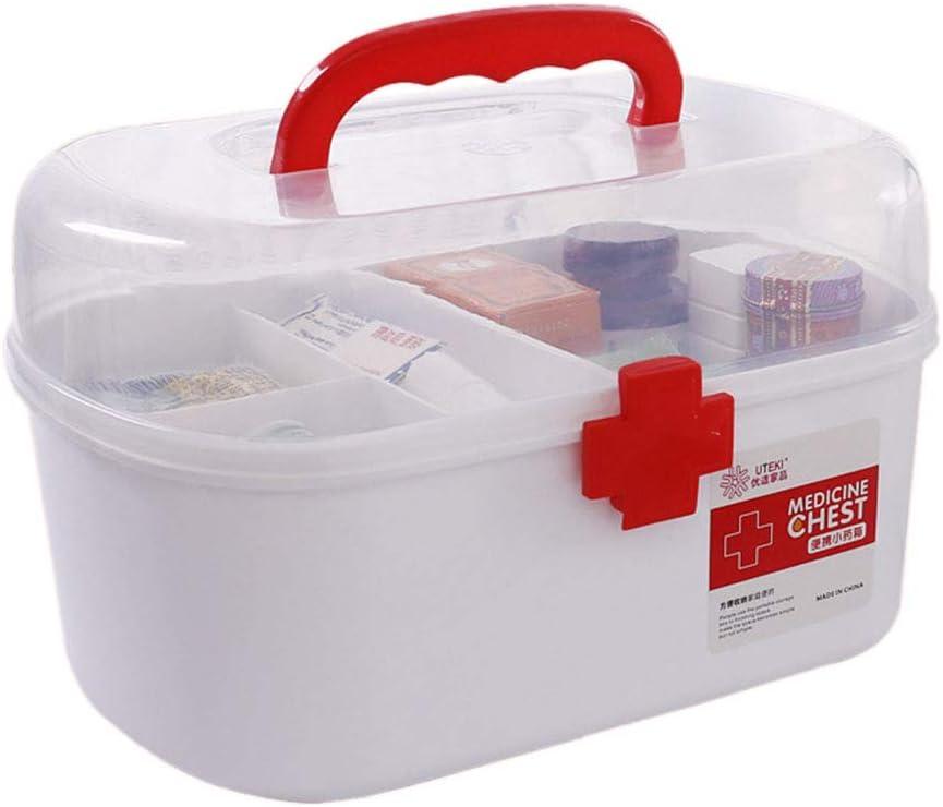 21 x 16 x 15.5cm Polai Caja de Farmacia Port/átil Caja de Medicina Armarios de Medicinas Botiquin de Primeros Auxilios Casa Medicina Organizador