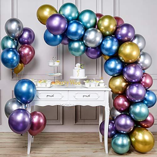 PartyWoo Metallic Ballonnen, 50 Stuks 12 Inch Glanzende Ballonnen In Goud, Rood, Blauw, Paars, Zilver En Groen, Metallic Ballon Voor Princess Ariel Party, Little Mermaid Party Decorations