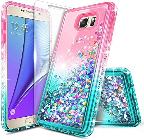 E-Began Case for Samsung Galaxy Note 5 with Tempered Glass Screen Protector, Glitter Flowing Liquid Quicksand w/Sparkling Bling Diamond, Durable Girls Cute Phone Case (Pink/Aqua)