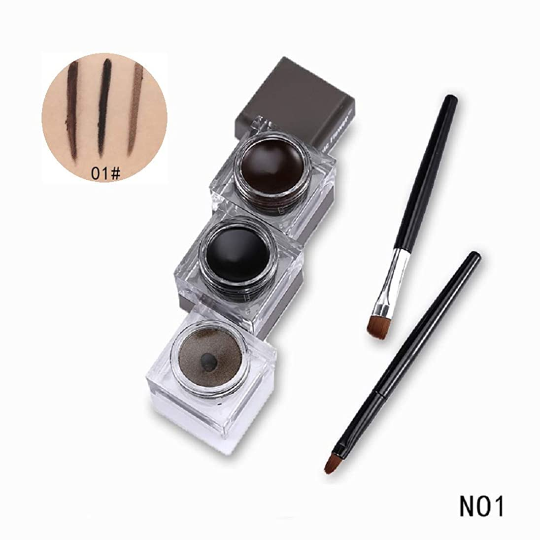 経度吐くバトル3 in 1 Eyeliner Gel Eyebrow Cream Black Eye Liner with Eye Brown Makeup Brushes Tool Natural Cosmetic Set アイライナージェルアイブロークリームブラックアイライナーアイブラウンメイクブラシツールナチュラル化粧品セット (No1)