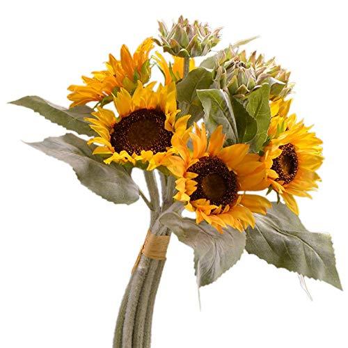 Imagen de flores falsas Sala de estar Decoración del hogar Simulación Flores, 9 racimos de girasoles, tela de pétalos versátiles para facilitar el mantenimiento, girasoles que se abren todo el año (am
