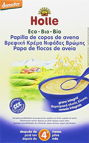 Holle Papilla de Copos de Avena (+4 meses) - Paquete de 6 x 250 gr - Total: 1500 gr