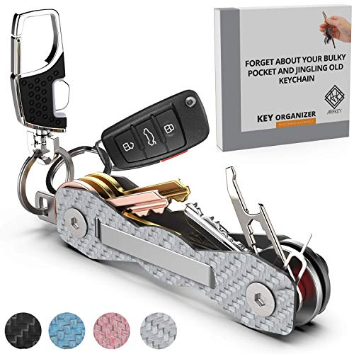 Image of the Carbon Fiber Compact Key Holder - Premium Heavy-Duty Key Organizer UP to 18 Keys -B0NUS Keychain Holder with Loop Piece for Belt or Car Keys - SIM & Bottle Opener + Video Instructions (Silver Carbon)