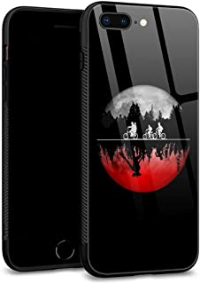 iPhone 7 Case,iPhone 8 Case Tempered Glass Back Shell Pattern Designed with Soft TPU Bumper Case for Apple iPhone 7/8 Cases -Stranger Things Illustrated Graphic