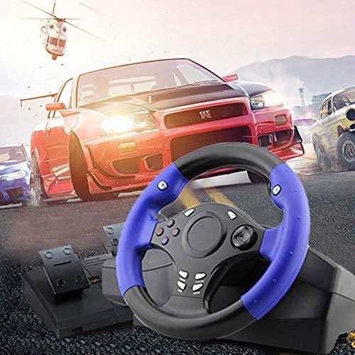 WUYANSE 7 en 1 270 ° Volant de Console de Jeu pour PS4 / PS3 / PC/Xbox-One/XBOX-360 / Commutateur/Android, Noir et Bleu