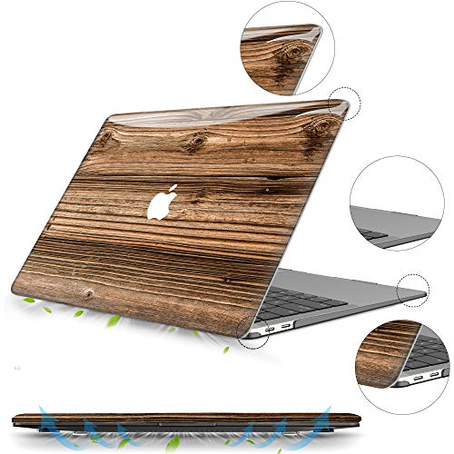 MacBook Air 13 Zoll Hülle 2020 2019 2018 Release A2179 A1932, B BELK 3D Smooth Scratch Resistant Snap on PC Hard Case with Keyboard Cover for Mac Air 13.3 Touch ID & Retina Display (Walnuss)