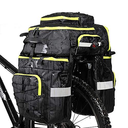 Alforjas de bicicleta para portaequipajes MTB, bolsa de equipaje para bicicleta de montaña, de montaña y de bicicleta, 3 en 1, bolsa para el maletero, de doble cara, portaequipajes trasero