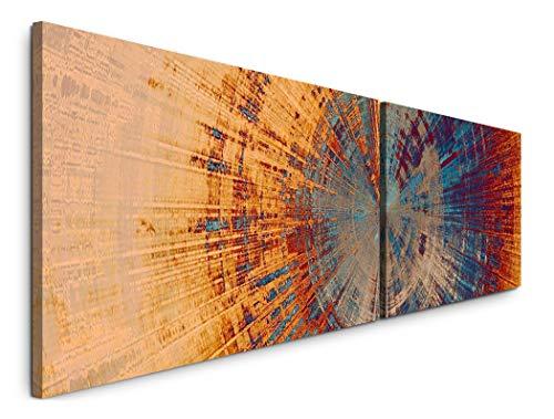 Paul Sinus Art Abstraktes Wandbild 180x50cm - 2 Wandbilder je 50x90cm - Kreis orange, blau und rot - Wandbild - Leinwandbilder fertig auf Rahmen