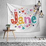 jecycleus Jane Cute Tapestry for Men Cartoon Style Festive Celebratory Design Rhombuses Flowers and Snowflakes Baby Name Trippy Tapestry Wall Decor W62.8 x L62.8 Inch Multicolor