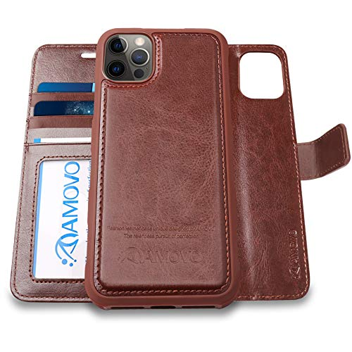 AMOVO Compatible with iPhone 12 Pro/iPhone 12 Wallet Case Detachable [Vegan Leather] [Hand Strap] [Card Slot] [Stand Feature] Flip Folio Phone Case Compatible with iPhone 12/iPhone 12 Pro (Brown)