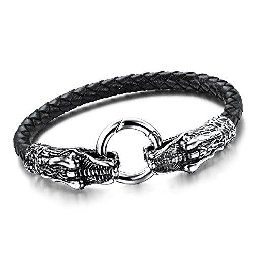 Cupimatch Herren Lederarmband, Edelstahl Gotik Drachen Kopf Anhänger geflochten Manschette Kordelkette Ring Armband Armreif, Silber schwarz