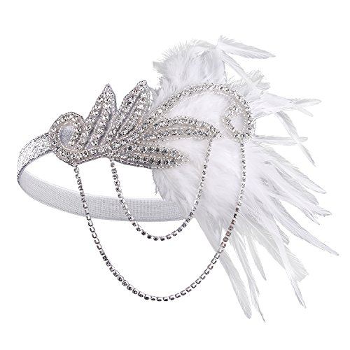 BABEYOND 1920s Flapper Headband Roaring 20s Great Gatsby Headpiece Feather Headband 1920s Flapper Gatsby Hair Accessories for Party Prom (White)