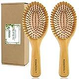 2 cepillos de bambú para el pelo natural con cerdas de bambú, masajes para el cuero cabelludo y desenredar el pelo para todo tipo de cabello, para mujeres y hombres
