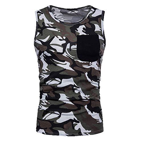 Primavera y Verano Nuevo Hombres Camuflaje Sudor Mens Casual Chaleco Camiseta sin Mangas Gris gris M