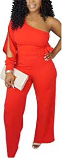 Women's Sexy One Shoulder Slit Sleeve High Waist One Piece Pant Outfit Wide Leg Jumpsuit Romper