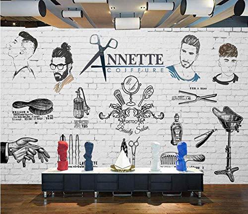 Papel Pintado no tejido Decoración de Pared Pintura de pared de fondo de barbería de tendencia pintada a mano europea y americana@350 * 245 cm