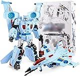 YZHM 2 in 1 Deformation Kämpfer Spielzeug-Roboter Autobots Flugzeug-Modell-Jungen-Kind-Geschenk Action-Figuren mit Licht und Sounds austauschbarer Kopf, Blau,Blau
