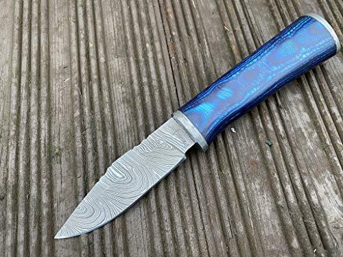 Perkin SK1400 cuchillo de caza de acero Damasco de 19 cm con funda