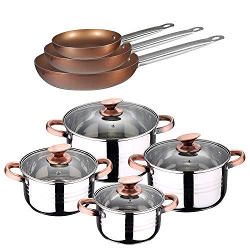 San Ignacio Batteria da Cucina 8 Pezzi Sip + Set 3 padelle 20, 24 e 28 cm Professional Chef Copper Plus, cromata, Unica